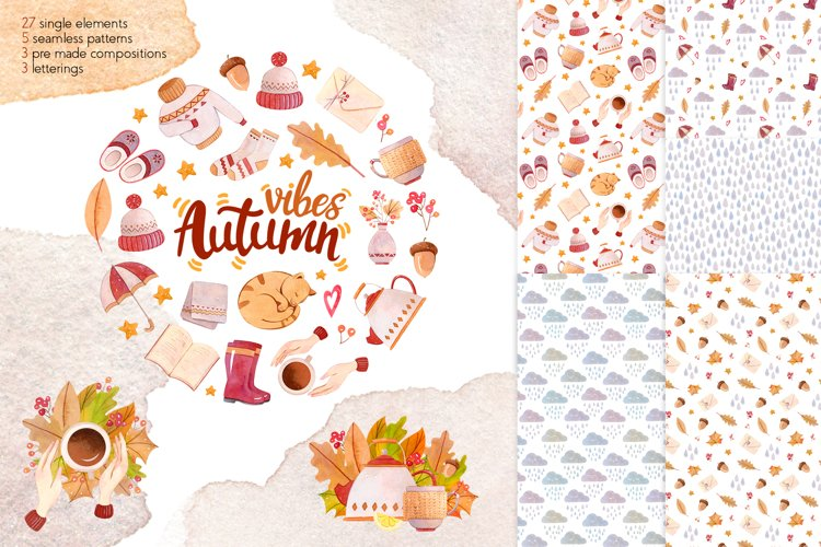 Autumn Vibes Watercolor Collection Clipart example image 1