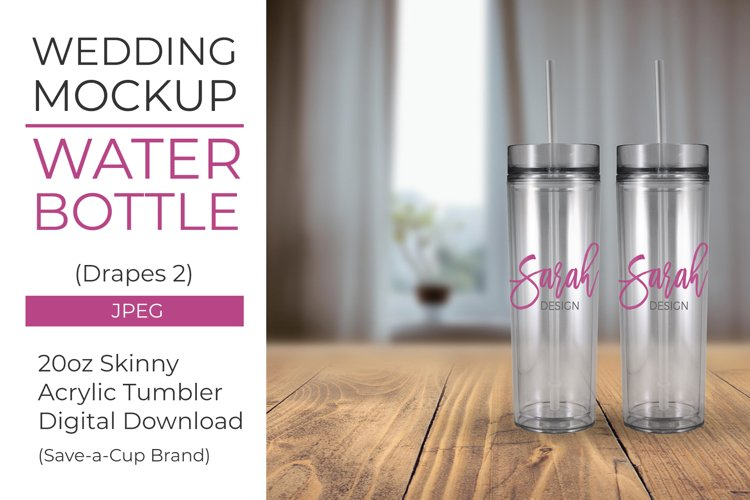 Acrylic water bottle mockup - Drapes 2