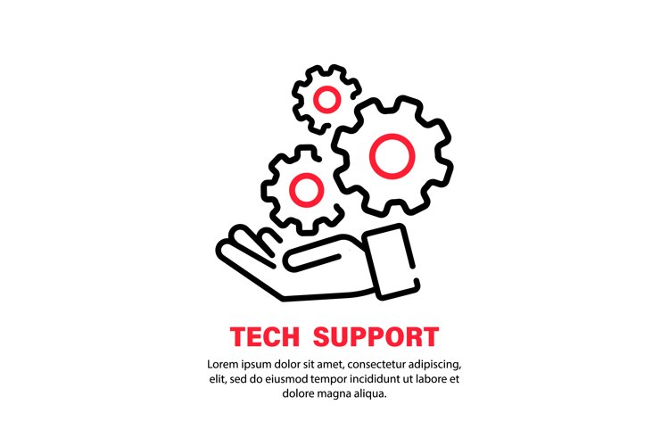 Tech support icon. Hand with gears. Operator call center example image 1
