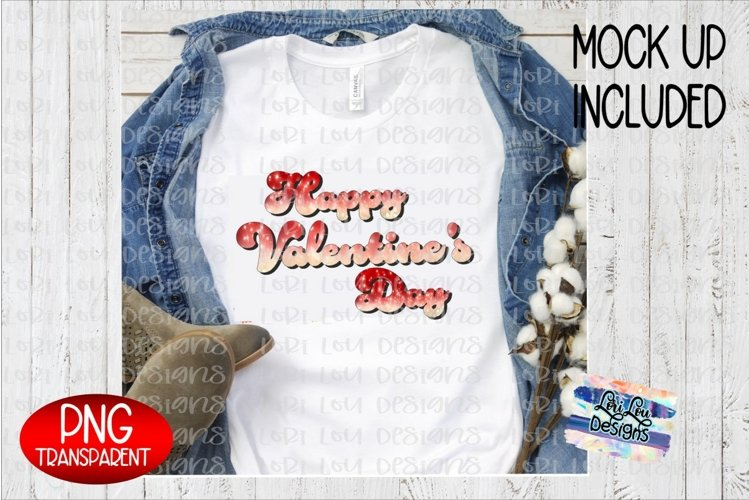Happy Valentine's Day Glitter Ombre Sublimation PNG example image 1