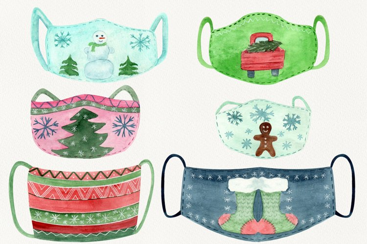 Christmas face mask clipart, Watercolor clip ar example image 1