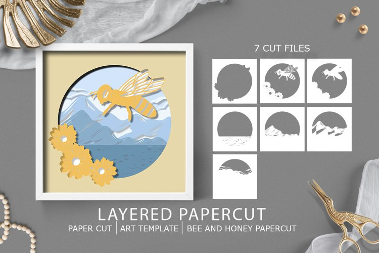 Paper cut  Layered papercut  Bee Honey papercut example image 1