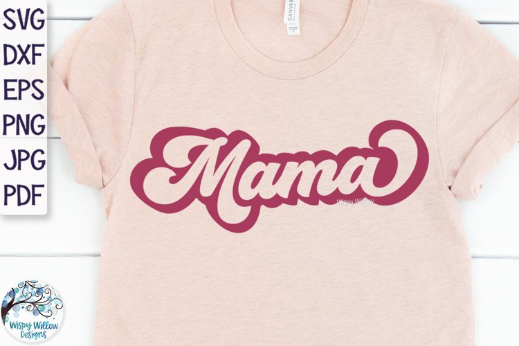 Retro Mama Outline SVG example image 1