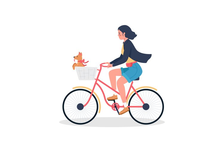 Woman riding on bicycle with puppy color vector character