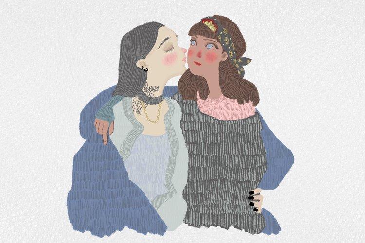 Cute lgbt cartoon couple of girls