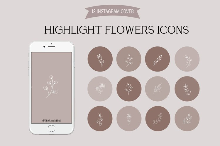 Highlight icons - 12 Instagram flowers icon