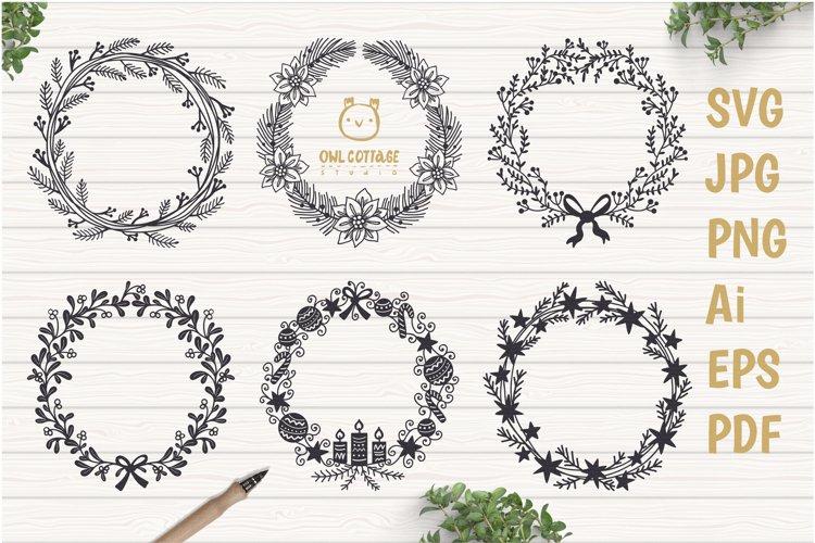 Floral X-mas Wreaths Set SVG, Christmas Decor Cut Files example image 1