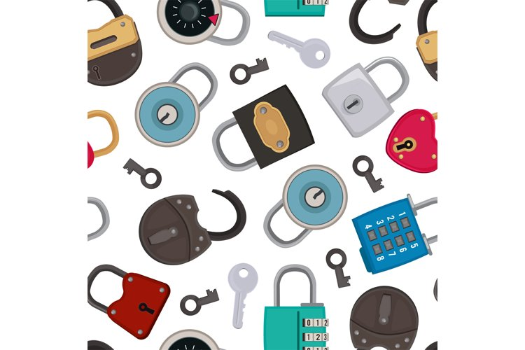 Seamless pattern with illustrations of different padlocks