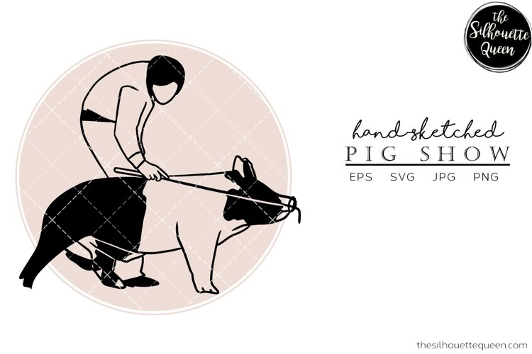 Hand drawn Pig Show Vector Sketch example image 1