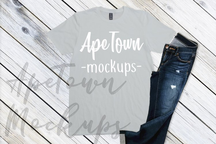 Shirt Mockup - Anvil mock up - 980 unisex t-shirt flat lay example image 1