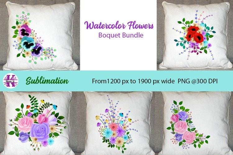 Watercolor Flowers Sublimation Bundle - PNG