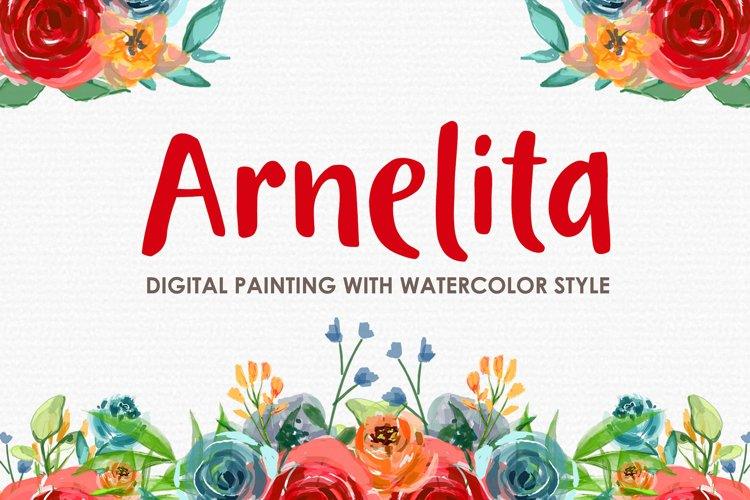 Arnelita - Digital Watercolor Floral Flower Style Clipart example image 1