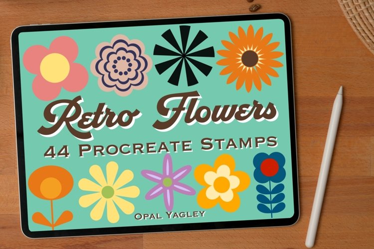 44 Retro Flower Procreate Stamps , Groovy Floral Brushes example image 1