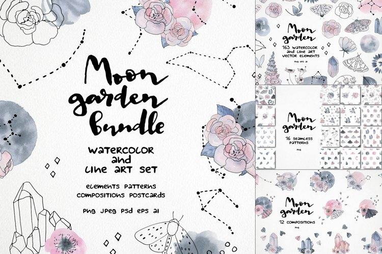 Moon garden clipart. Watercolor and vector line art set
