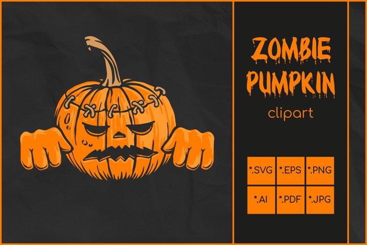 Pumpkin Zombie SVG, Halloween SVG, Zombie Jack O'Lantern example image 1