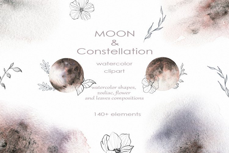 Watercolor Moon & Constellation Flower Leaves and graphics
