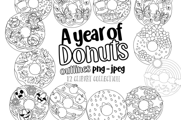A Year of Donuts Outlines Clipart Set