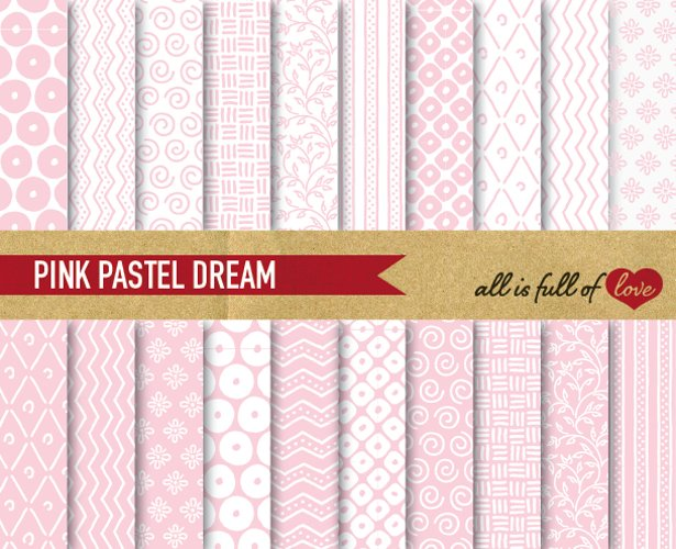 Soft Pink Digital Paper Hand Draw Background Patterns  example image 1
