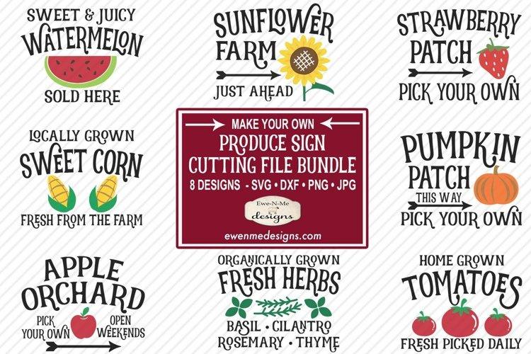 Produce Sign Bundle | Garden | Vegetables Fruits SVG example image 1