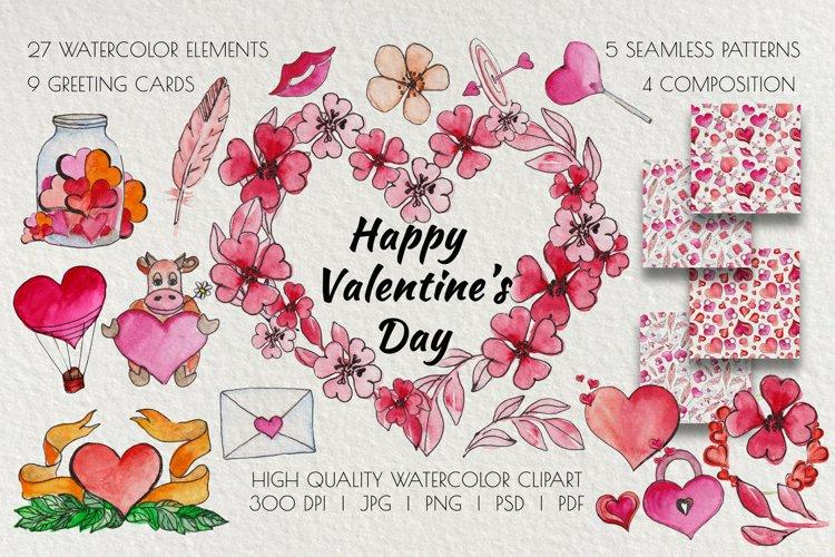 Valentines Day Watercolor Clipart. Invitation, card design