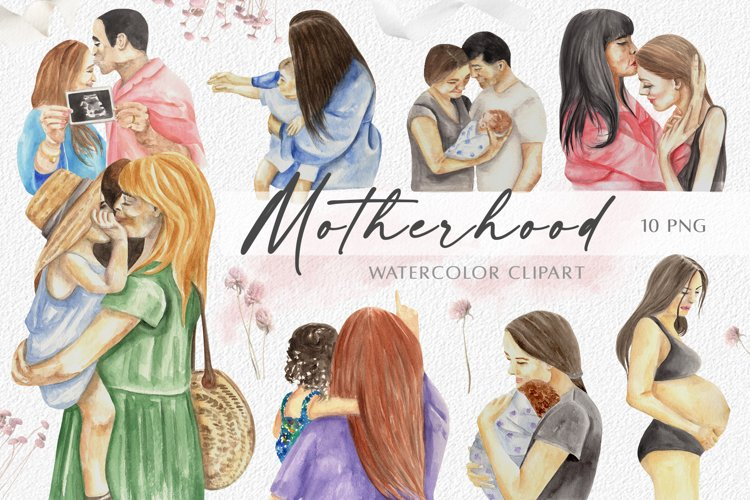 Watercolor Mothers Day Clipart. Motherhood, Family, Newborn