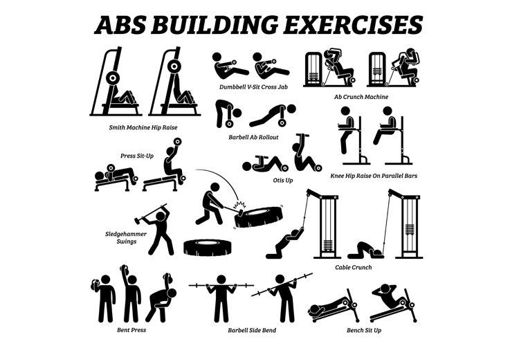 Abs Abdomen Abdominal Muscle Building Exercise Workout Gym 776502 Icons Design Bundles