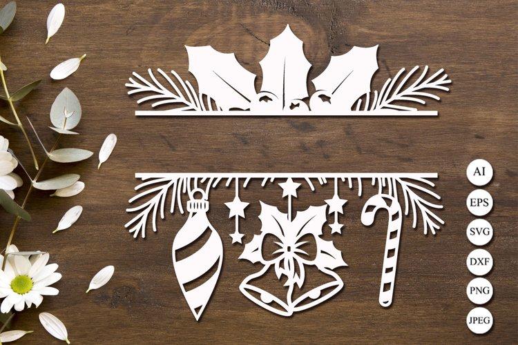 Christmas split monogram svg, Winter border svg