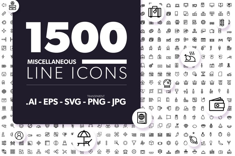 1500 Miscellaneous Line Icons