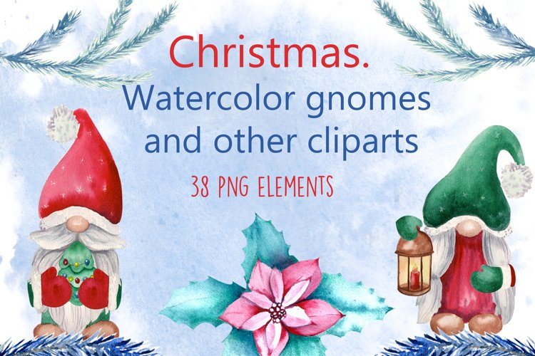 Christmas. Watercolor gnomes and other cliparts example image 1