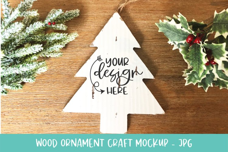 Christmas Tree White Wood Slice Ornament Mockup for Crafters example image 1