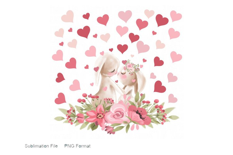 Watercolor Bunnies, Hearts, and Flowers PNG