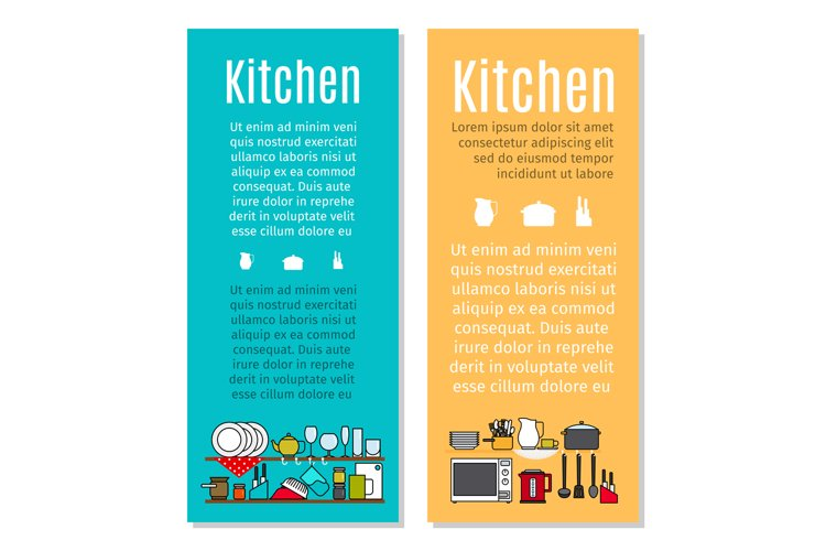 Kitchen flyers in cartoon style example image 1