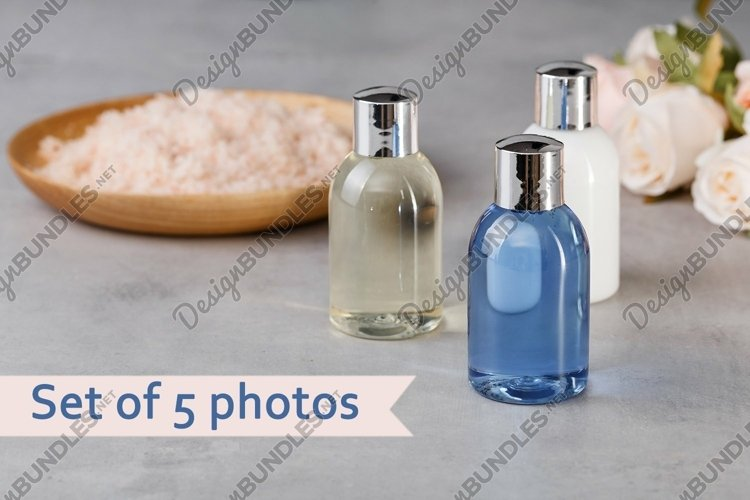 Set of 5 photos of color bottles.