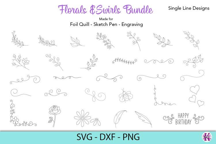 Florals & Swirls Bundle|Foil Quill|Single Line Designs example image 1