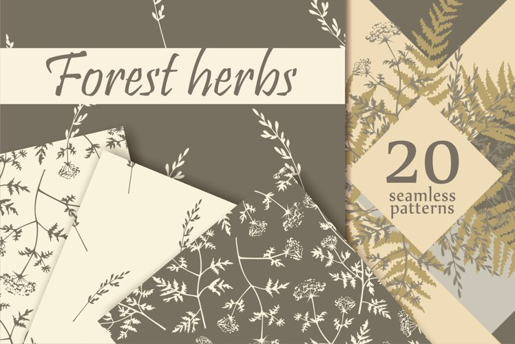 Forest Herbs seamless patterns Vector
