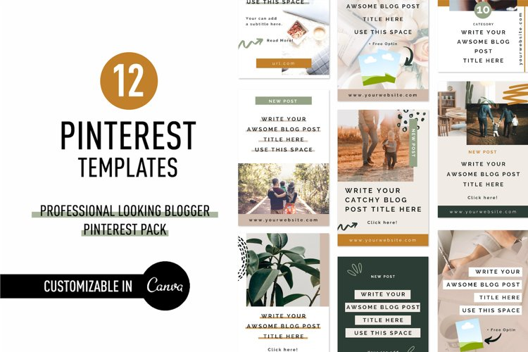 Professional Looking Blogger Pinterest Pin Pack | Canva example image 1