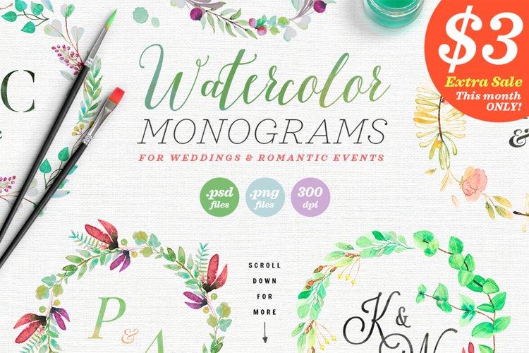 8 Watercolor Wedding Monograms II example image 1