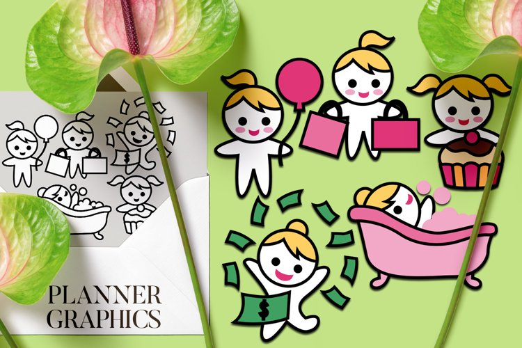 Planner stickers graphics, blonde girls happy day