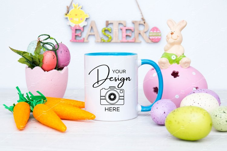 Easter Mug Mockup 11 Oz Blank White Coffee Cup Blue Handle example image 1