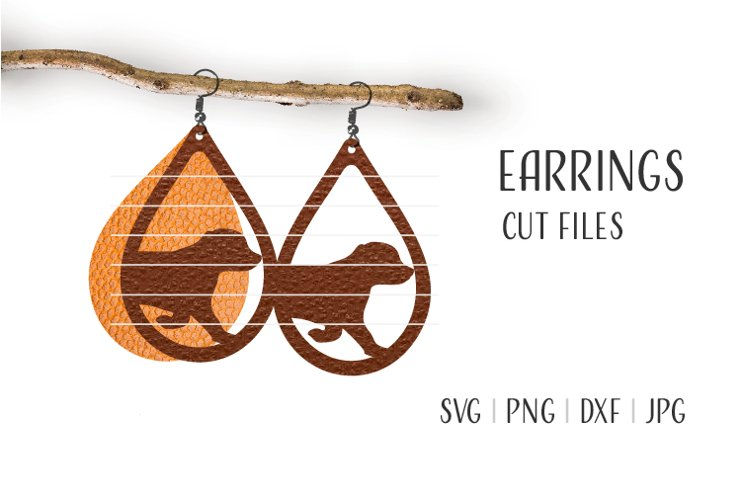 Dog Earrings Svg / Leather / Faux / Wood / Cut example image 1