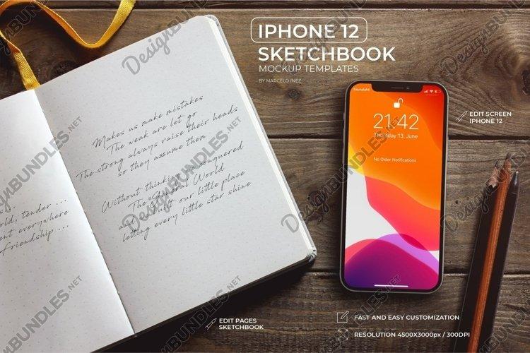 iPhone 12 SketchBook Mockup example image 1