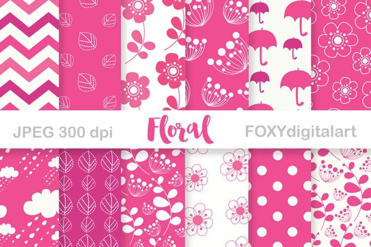 Digital paper pink flowers scrapbook floral wedding invite example image 1