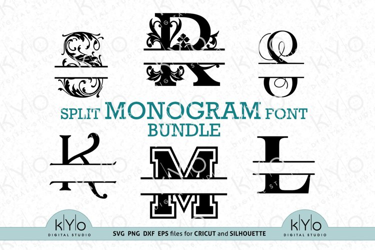 Split Monogram Font Letters bundle svg png dxf files