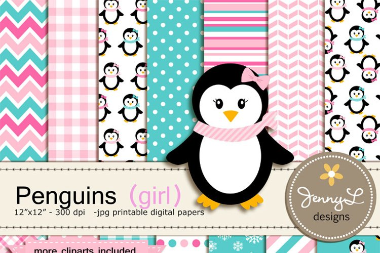 Penguin Girl Digital Paper and Penguin Clipart, Winter, Snow Penguins example image 1