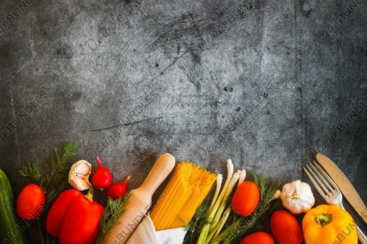 Vegetables on a concrete background example image 1