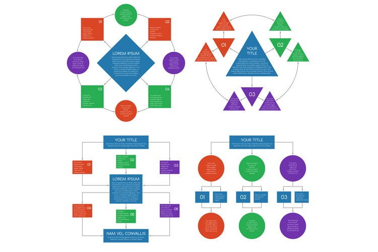 Hierarchy diagrams flowchart vector infographics set example image 1