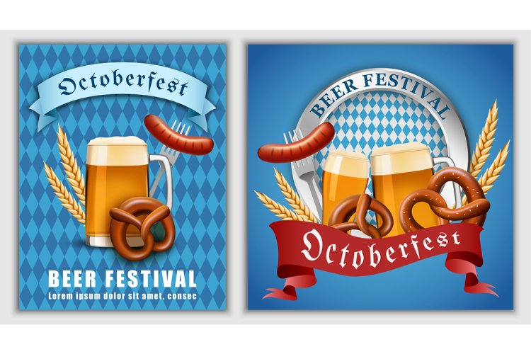 October fest beer banner concept, realistic style example image 1