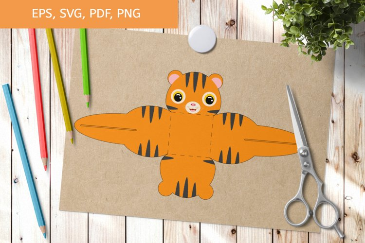 Cute Tiger Gift Box Template SVG, Gift Box SVG example image 1