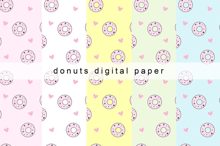 Donuts Digital Paper, Donuts Seamless Patterns