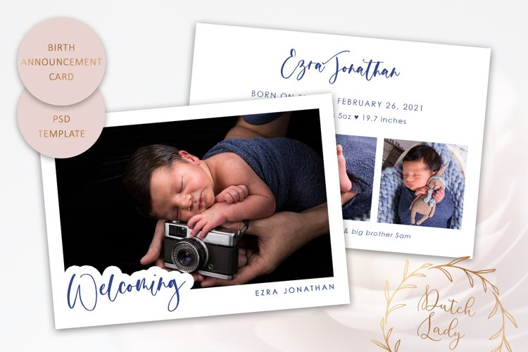 Birth Announcement Photo Card Template - Double Sided - #11